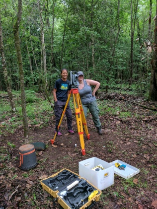Tiffany and Julie using the total station