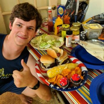 Flynn with a 4th of July BBQ spread.